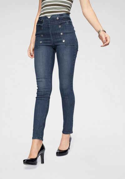 7329fe8aba Arizona Skinny-fit-Jeans »vorn mit glänzenden Dekoknöpfen« High Waist
