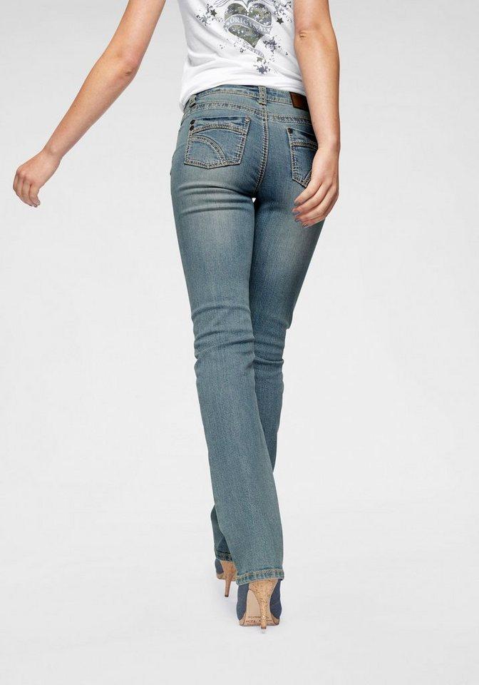 Arizona Gerade Jeans »Kontrastnähte« Mid Waist | Bekleidung > Jeans > Gerade Jeans | Blau | Denim | Arizona