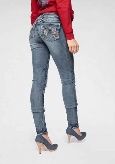 Arizona Skinny fit Jeans »Seitennaht mit silberfarbenem Print« Online Shop
