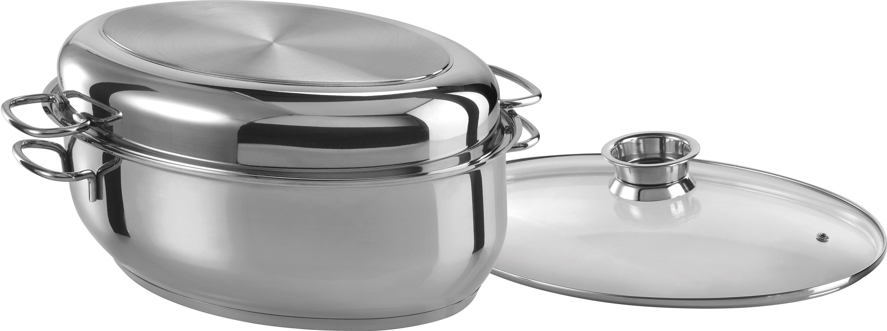 Gänsebräter oval Schmortopf Bräter Edelstahl Glas-Deckel 8,5 Liter Induktion GSW