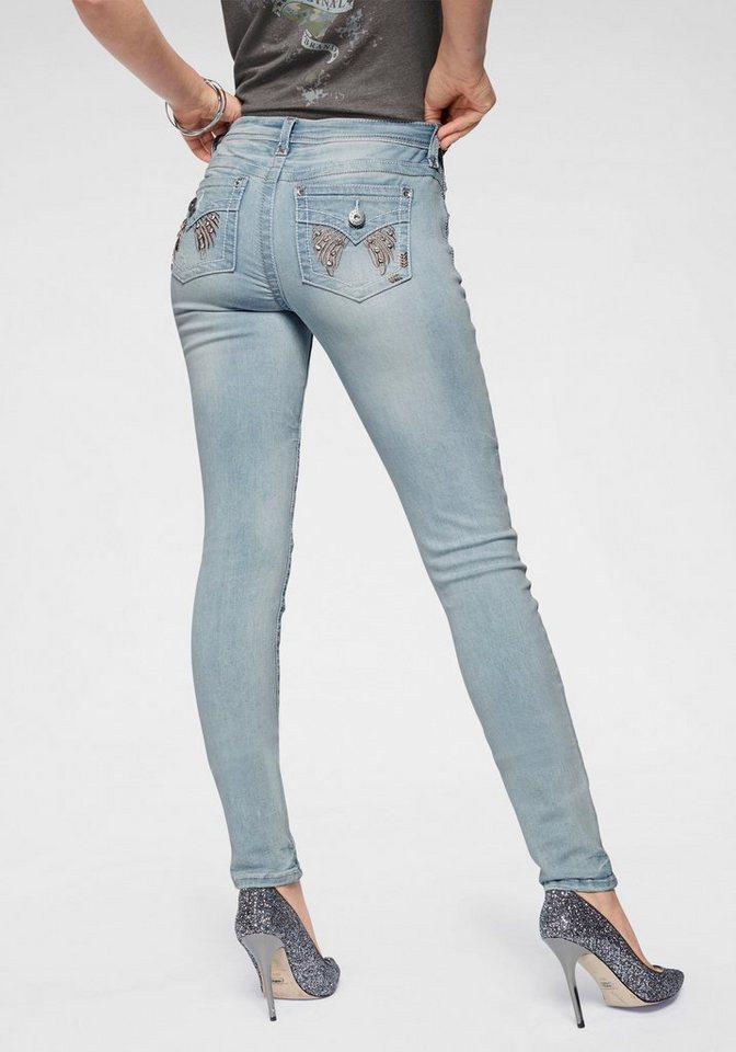 arizona slim fit jeans mit glitzersteinchen und. Black Bedroom Furniture Sets. Home Design Ideas