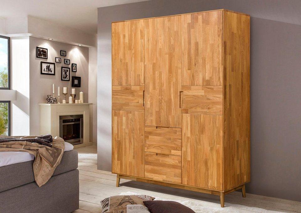 home affaire kleiderschrank scandi aus massivem eichenholz und eingefr sten griffen h he 202. Black Bedroom Furniture Sets. Home Design Ideas