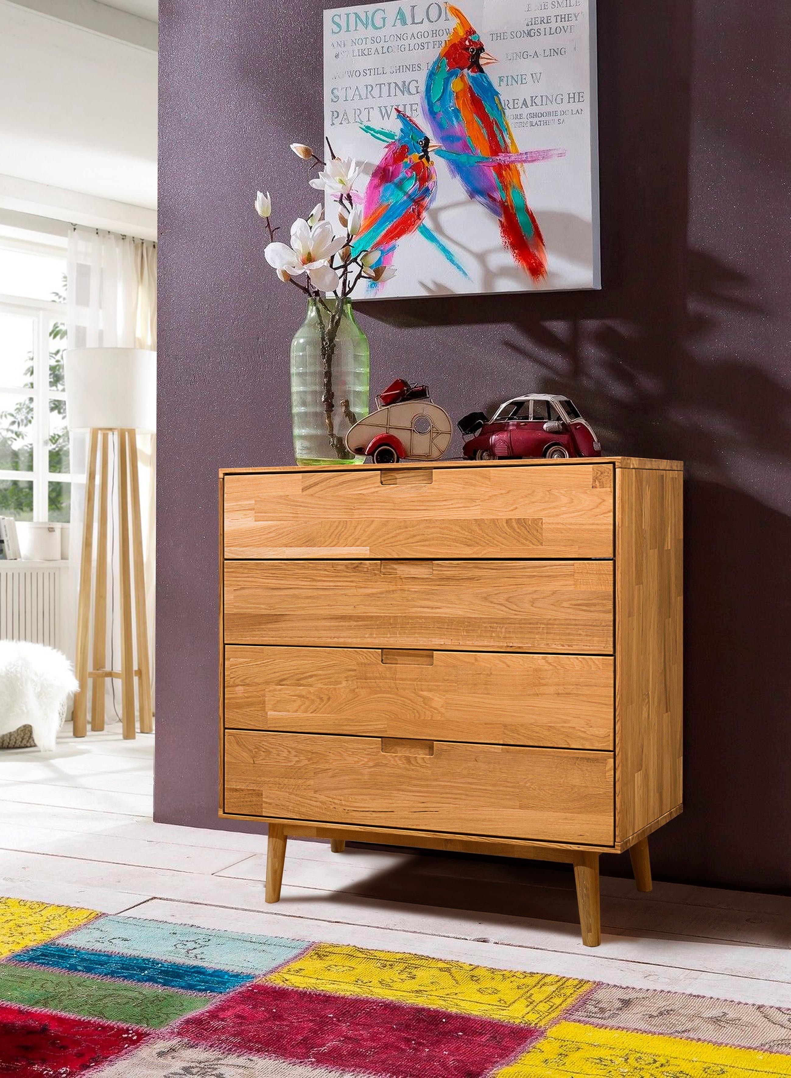 Home Affaire Kommode »Scandi« aus massivem Eichenholz und eingefrästen Griffmulden, Breite 80 cm