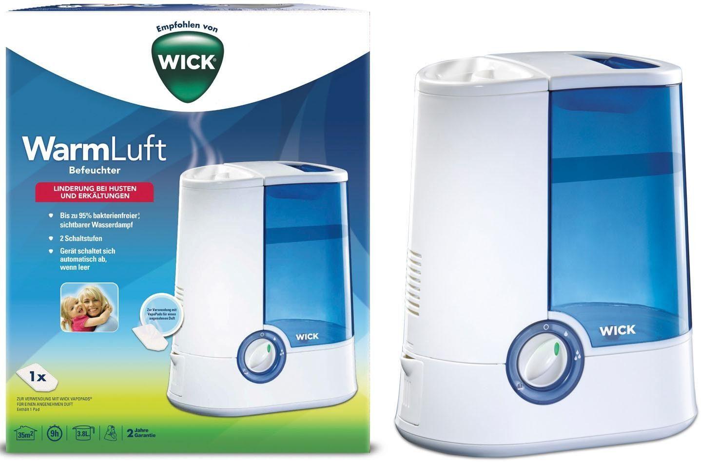 WICK Luftbefeuchter WH750DA, 3,8 l Wassertank, Warmluft-Befeuchter