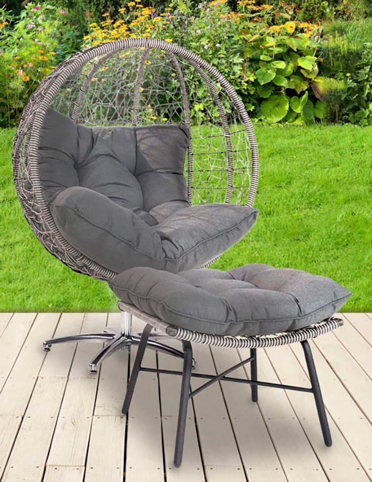 GREEMOTION Loungesessel »Egg Chair«, mit Fußhocker, Stahl/ Polyethylengeflecht