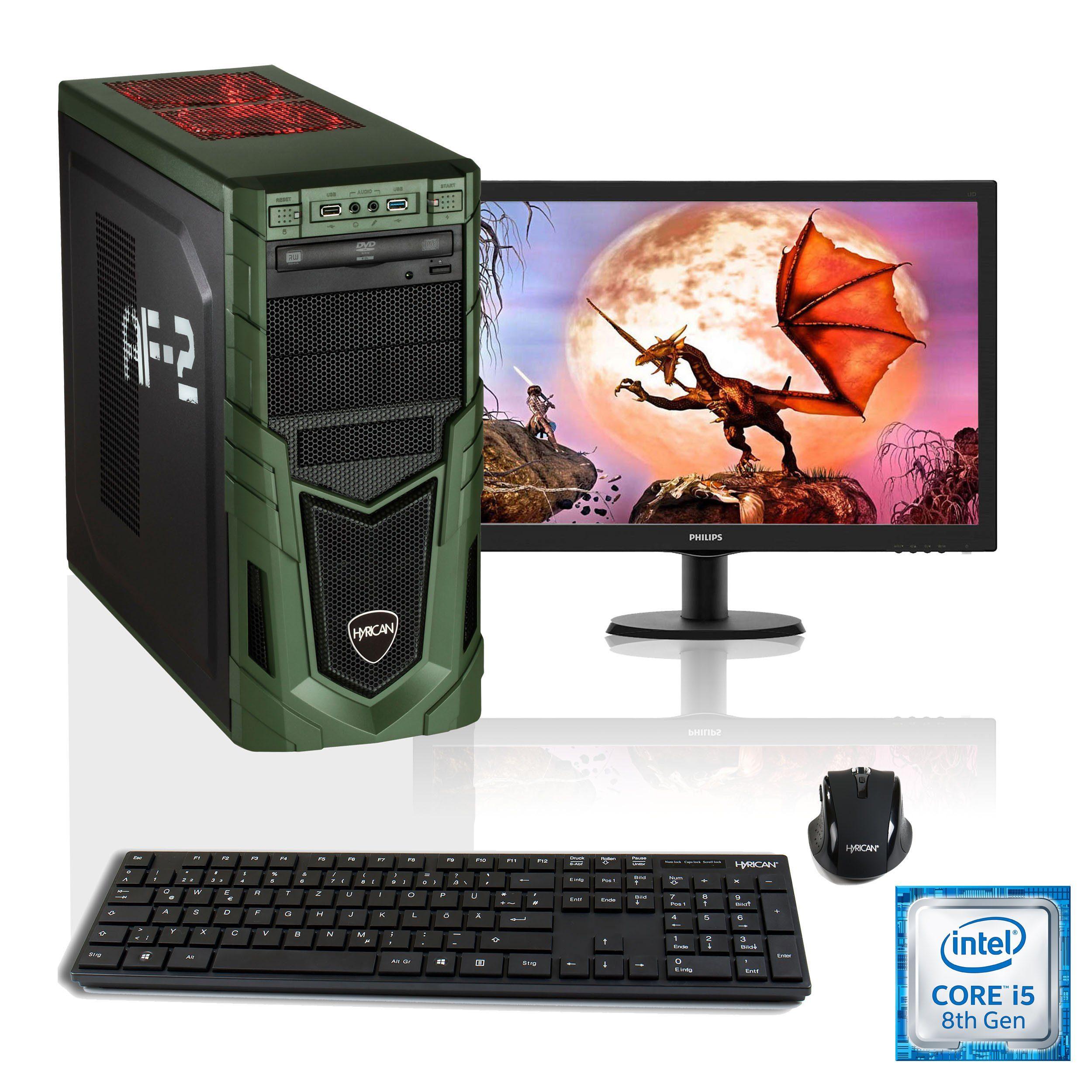 """HYRICAN i5-8400 16GB SSD + HDD GeForce® GTX 1060 + 24"""" Monitor »Military SET1488«"""