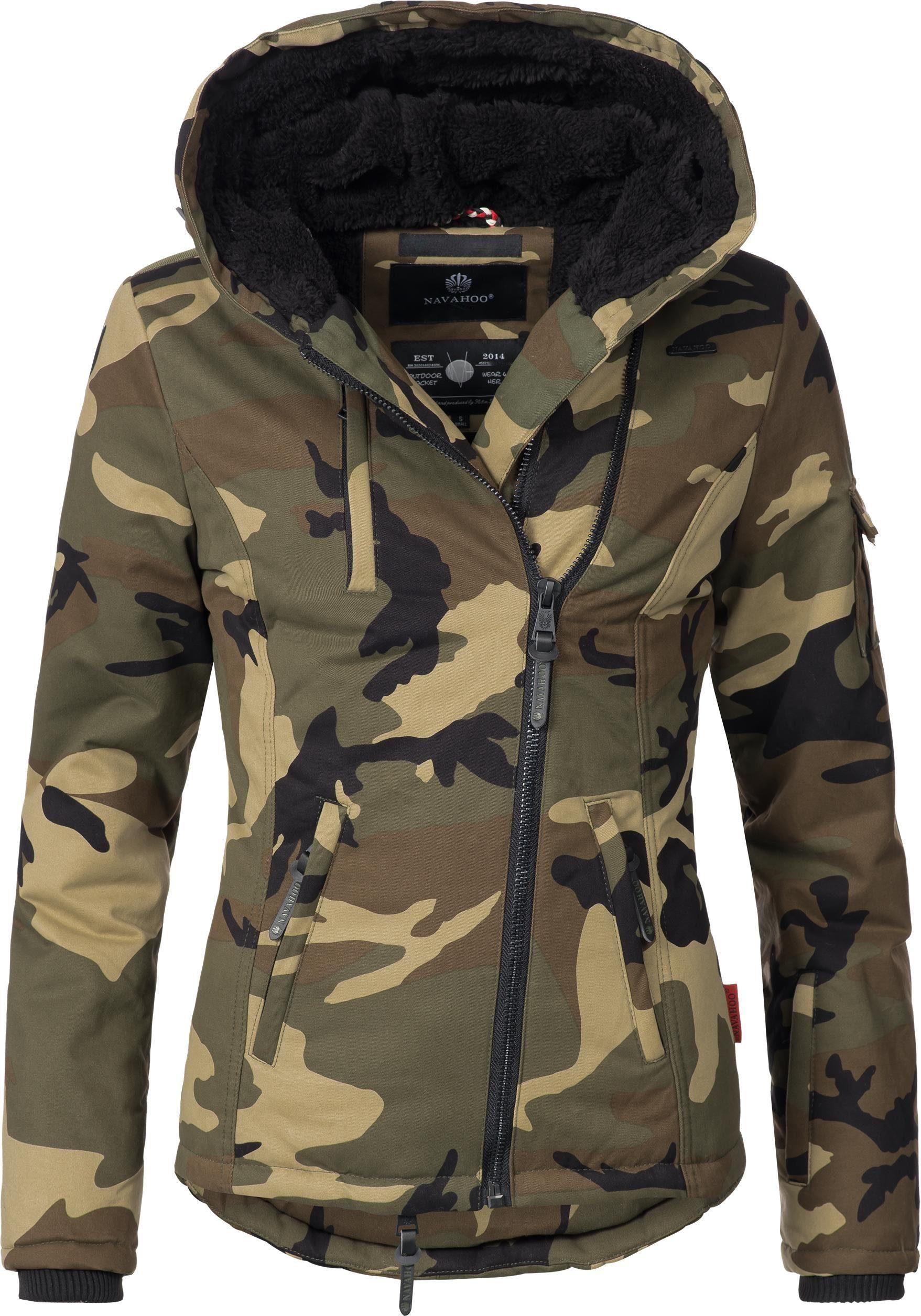 Winterjacke, Camouflage Print, Teddyfell