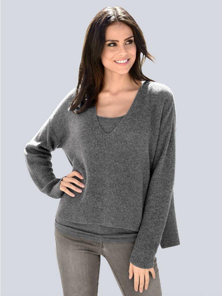 Damen Alba Moda Pullover aus kuschweicher hochwertiger Kaschmirwolle grau | 04055717462777
