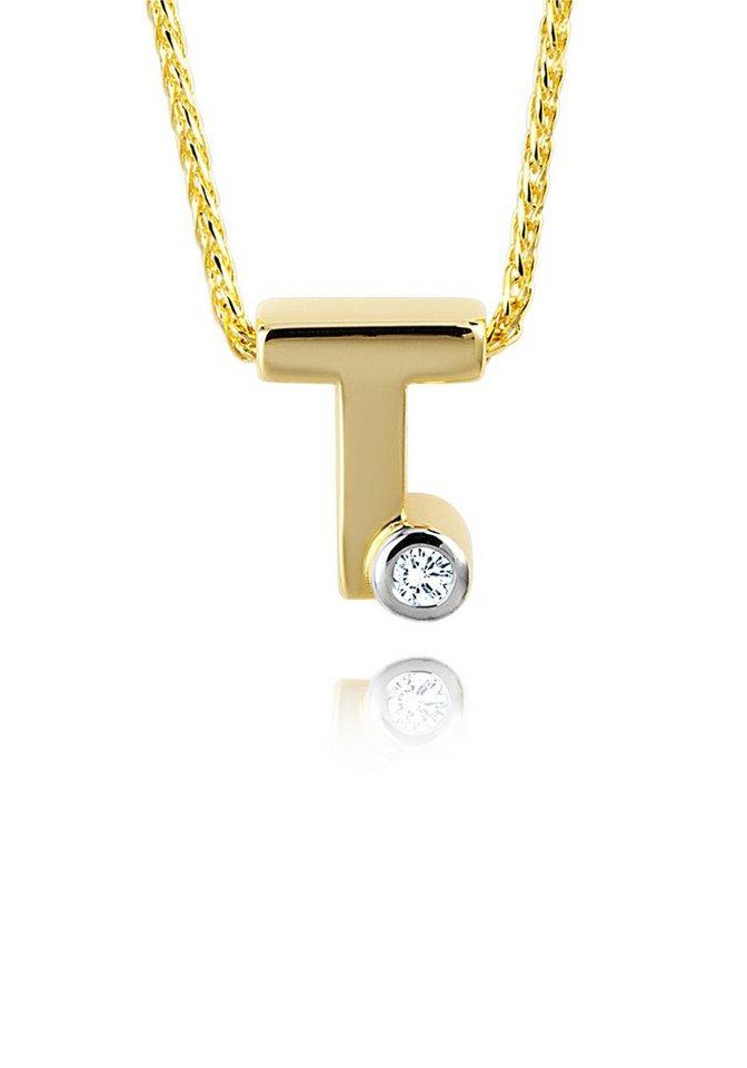 diamond line goldkette mit buchstabem t und diamantbesatz. Black Bedroom Furniture Sets. Home Design Ideas