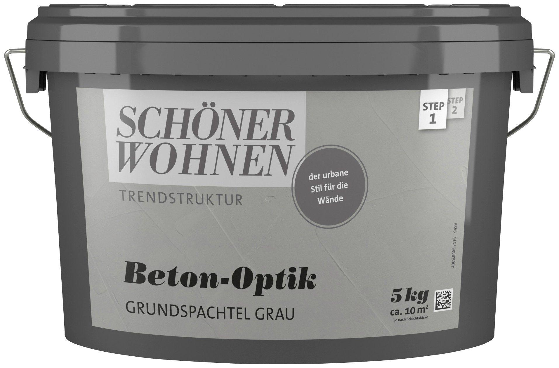 SCHÖNER WOHNEN FARBE Spachtelmasse »Betonoptik Grundspachtel grau«, 5 kg