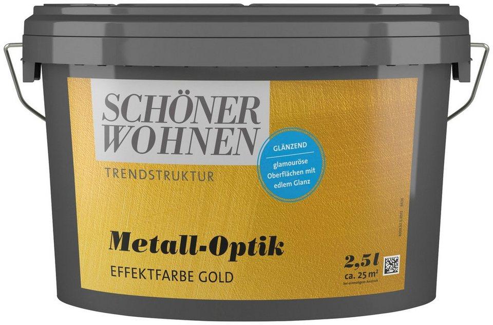 sch ner wohnen farbe spezialfarbe metall optik effektfarbe gold gl nzend 2 5 l online kaufen. Black Bedroom Furniture Sets. Home Design Ideas