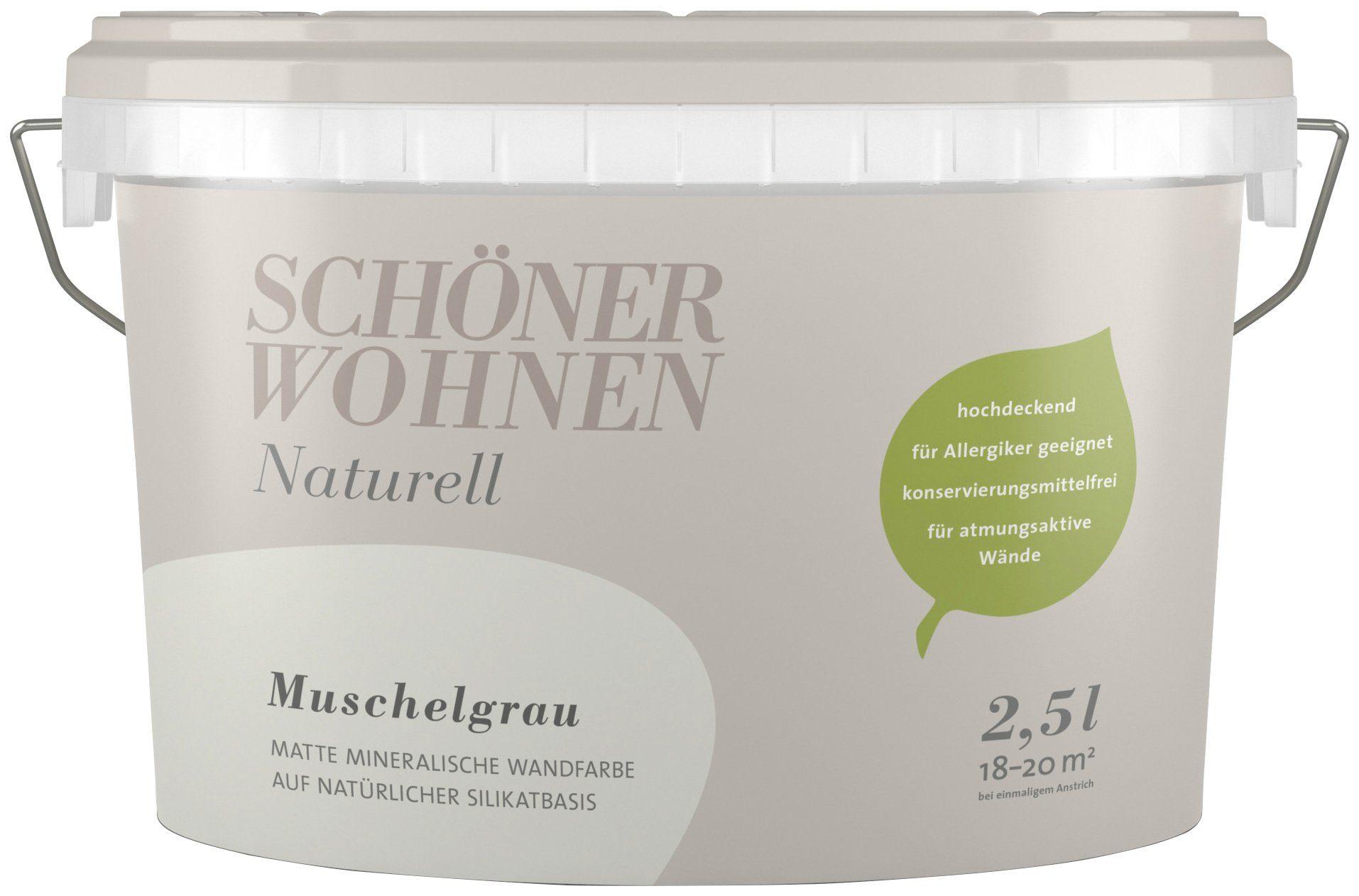 SCHÖNER WOHNEN FARBE Wand- und Deckenfarbe »Naturell Muschelgrau«, 2,5 l