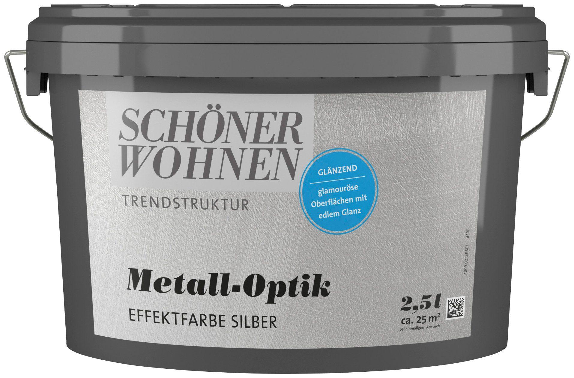 SCHÖNER WOHNEN FARBE Spezialfarbe »Metall-Optik Effektfarbe silber«, glänzend, 2,5 l