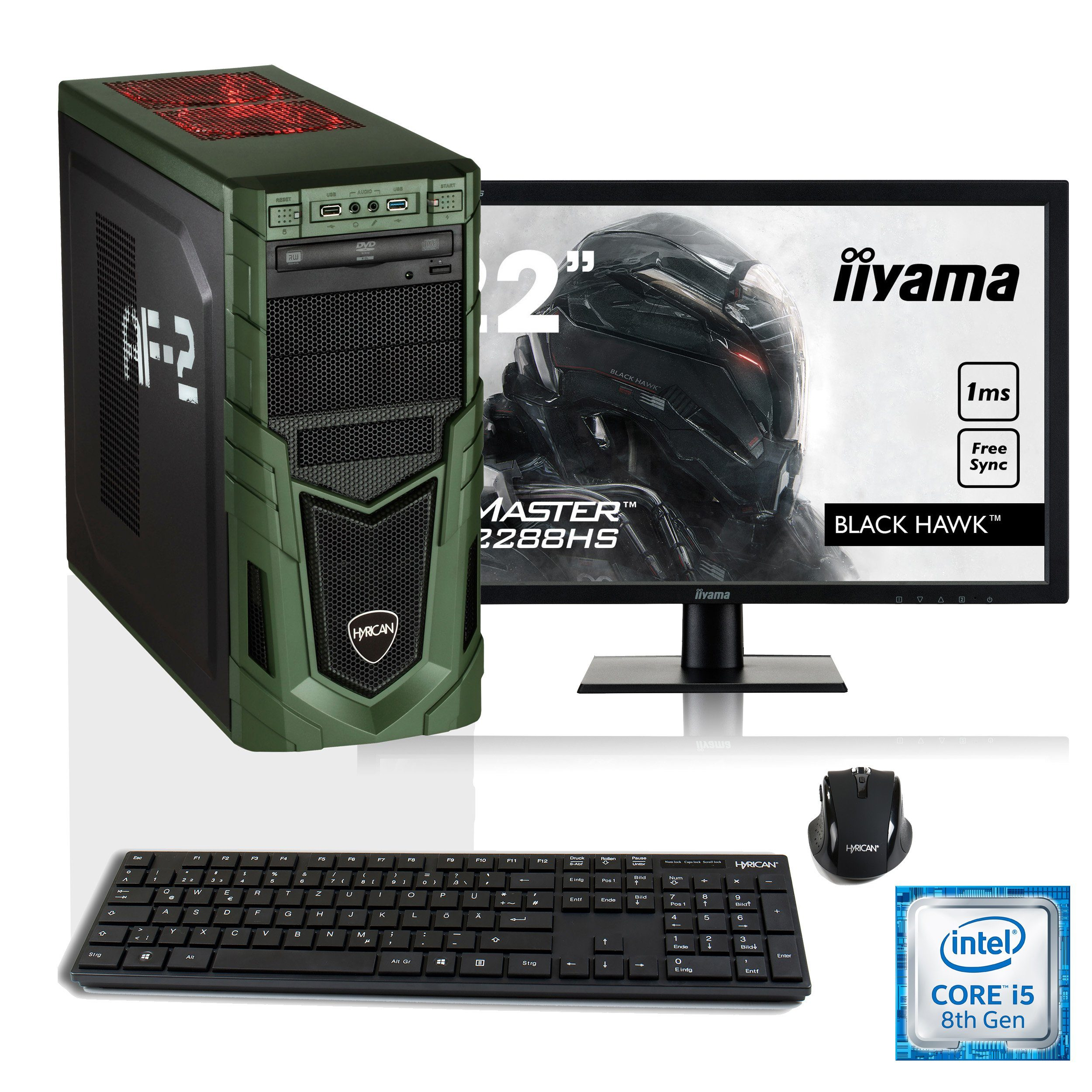 "HYRICAN i5-8400 16GB SSD + HDD GeForce® GTX 1050 Ti + 21,5"" Monitor »Military SET1509«"