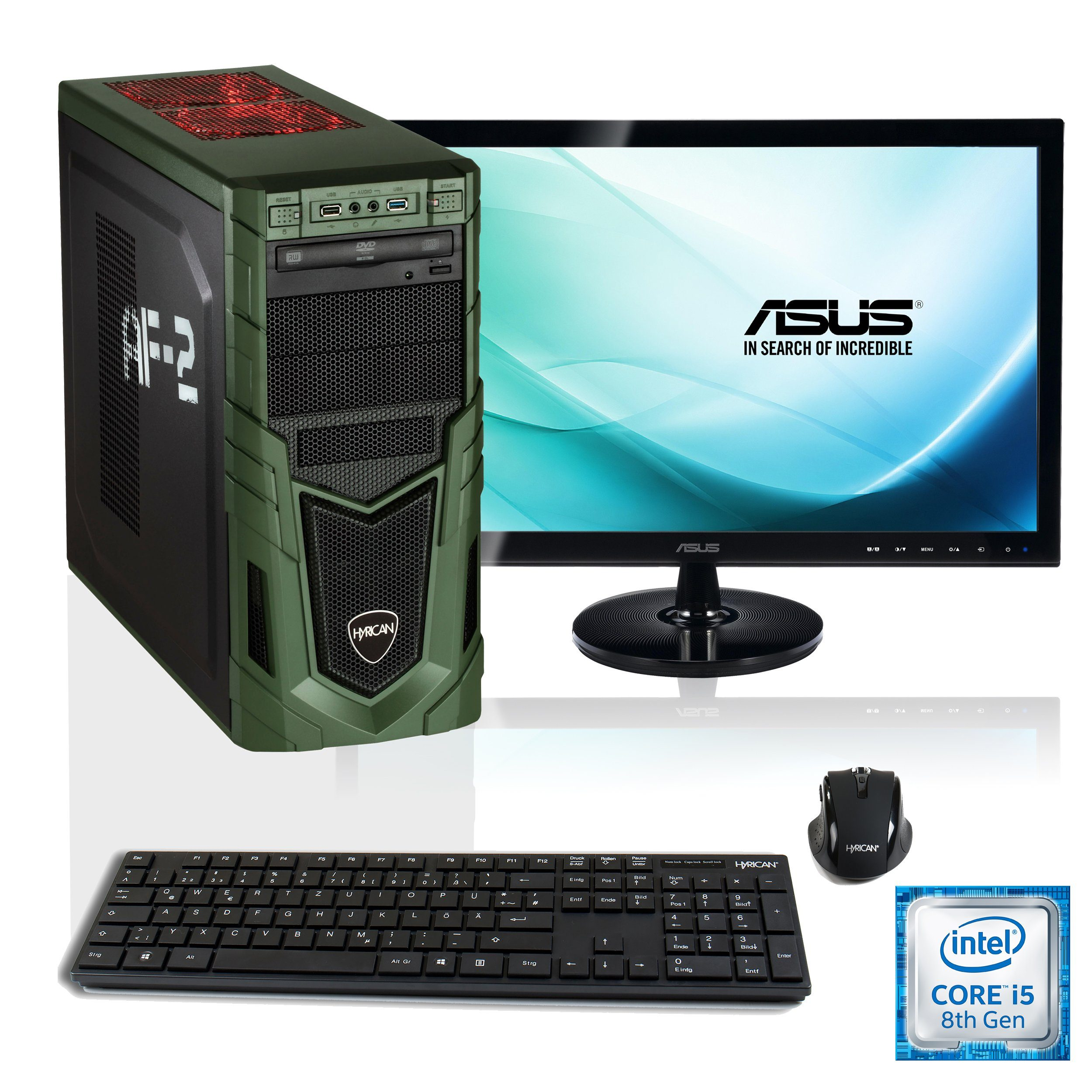"HYRICAN Gaming PC i5-8400, GTX 1050 Ti, 16GB RAM + 68,6cm (27"") TFT »Military SET1508«"