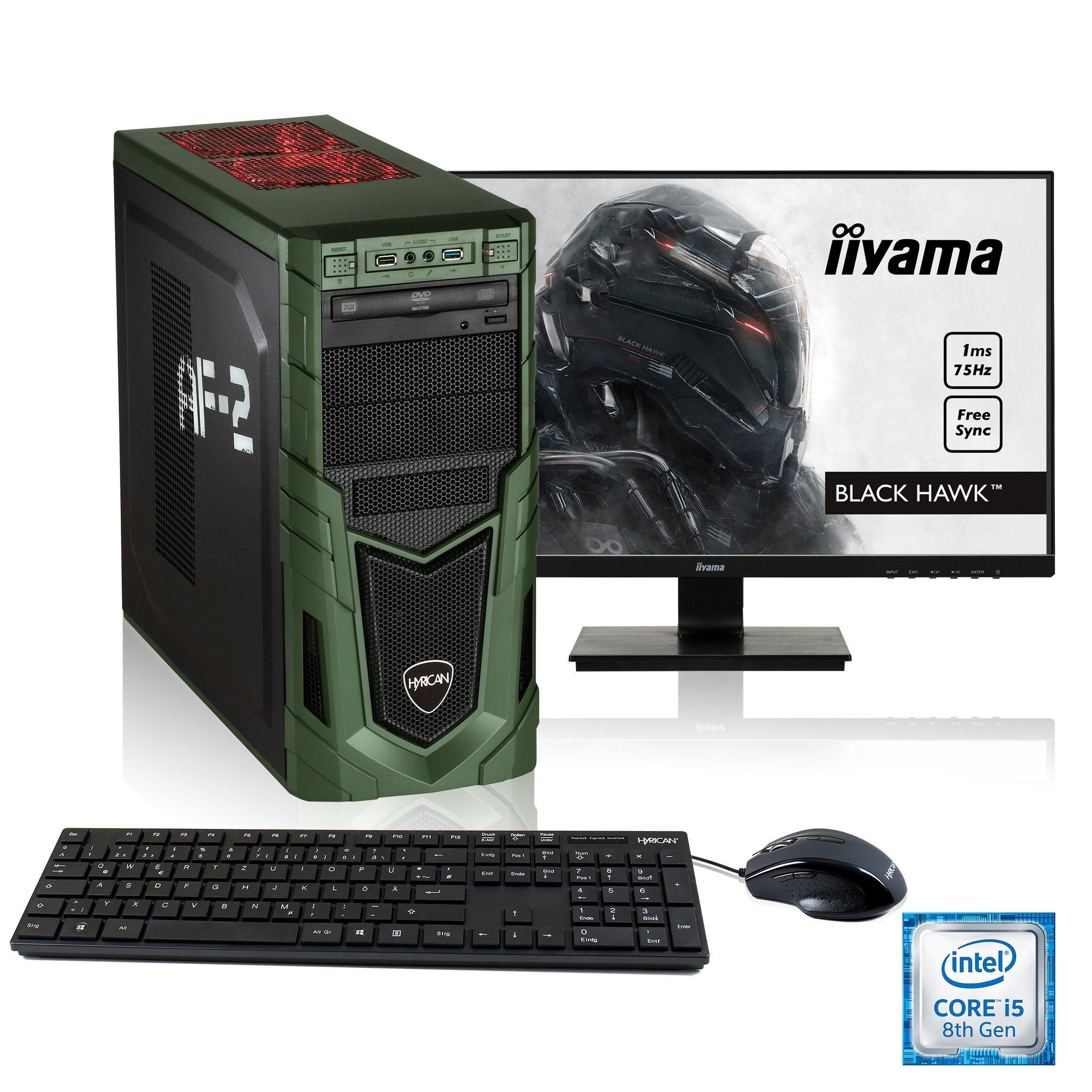"""HYRICAN i5-8400 16GB SSD + HDD GeForce® GTX 1060 + 24,5"""" Monitor »Military SET01532«"""