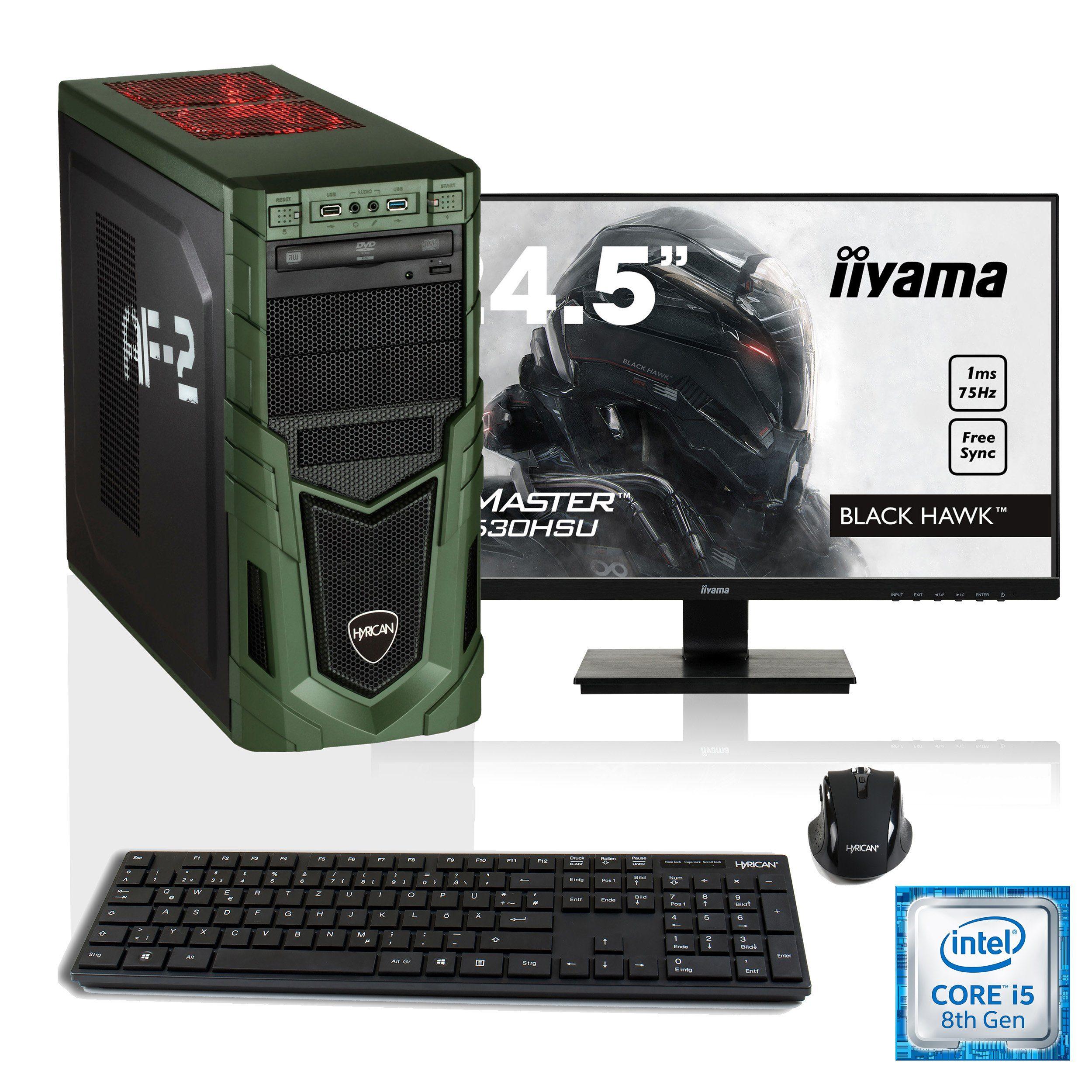 """HYRICAN i5-8400 8GB SSD + HDD GeForce® GTX 1060 + 24,5"""" Monitor »Military SET1521«"""