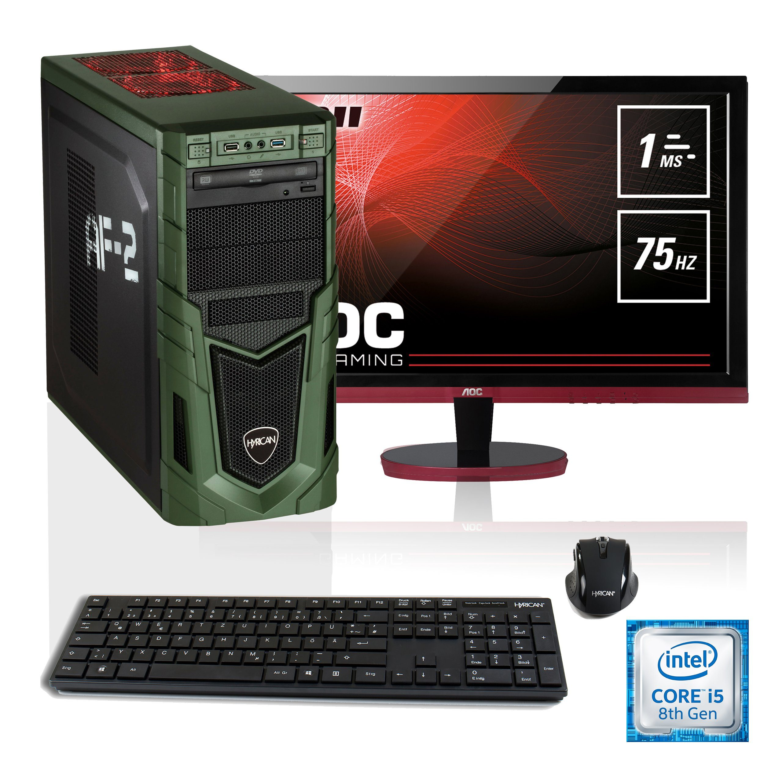"HYRICAN i5-8400 16GB SSD + HDD GeForce® GTX 1060 + 27"" Monitor »Military SET1528«"