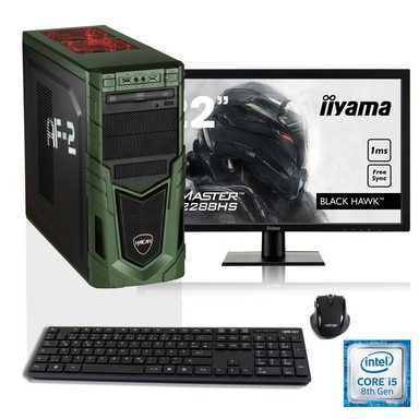 """Hyrican i5-8400 16GB SSD + HDD GeForce® GTX 1060 + 21,5"""" Monitor »Military SET1531«"""