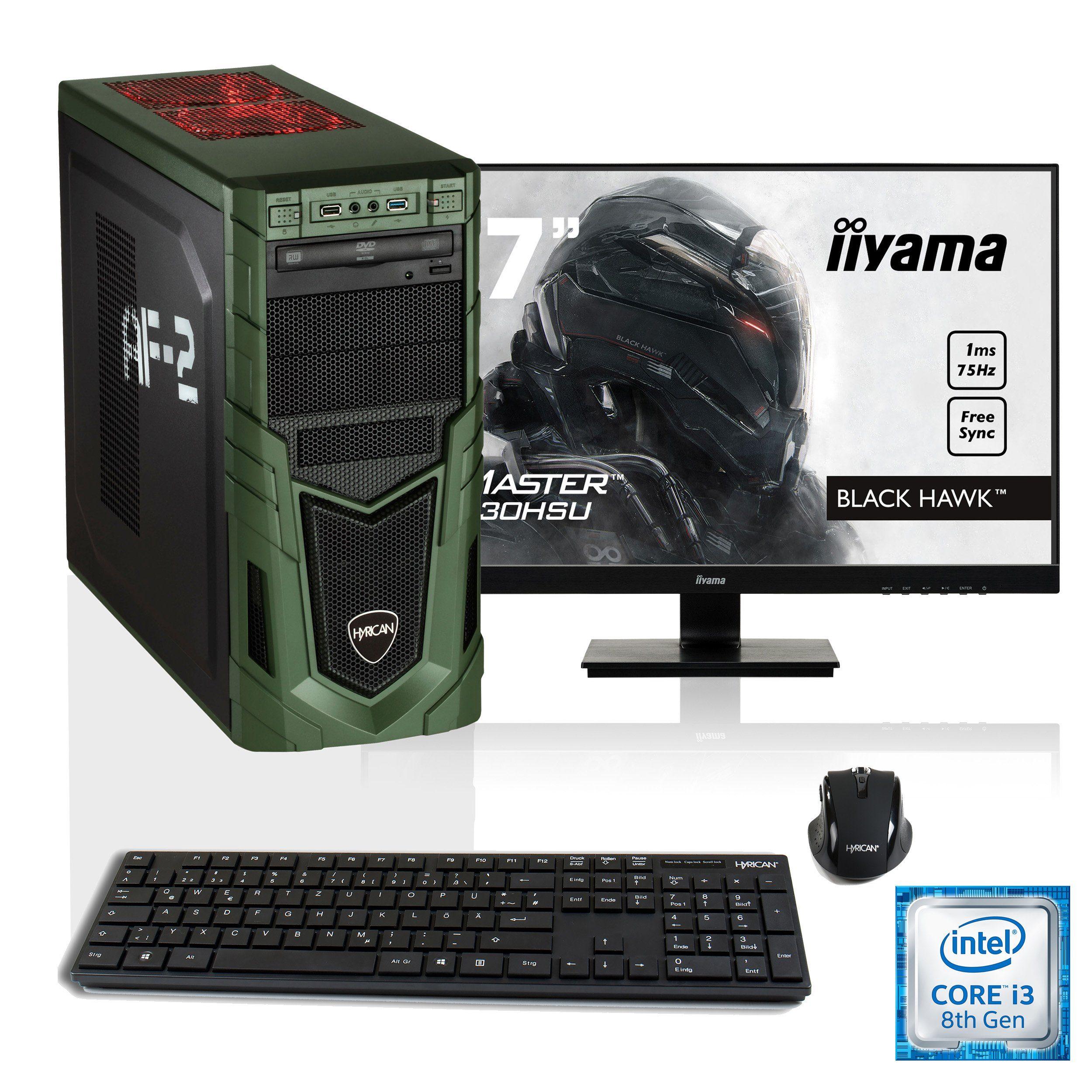 """HYRICAN i3-8100 16GB SSD HDD GeForce® GTX 1050 Ti + 27"""" Monitor »Military SET1593«"""