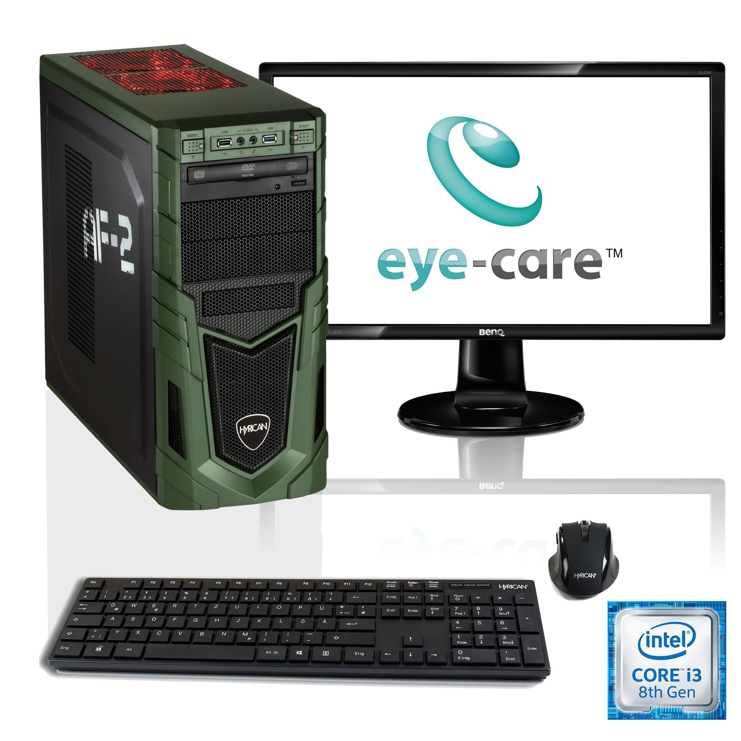"""HYRICAN i3-8100 16GB SSD HDD GeForce® GTX 1050 Ti + 27"""" Monitor »Military SET1595«"""