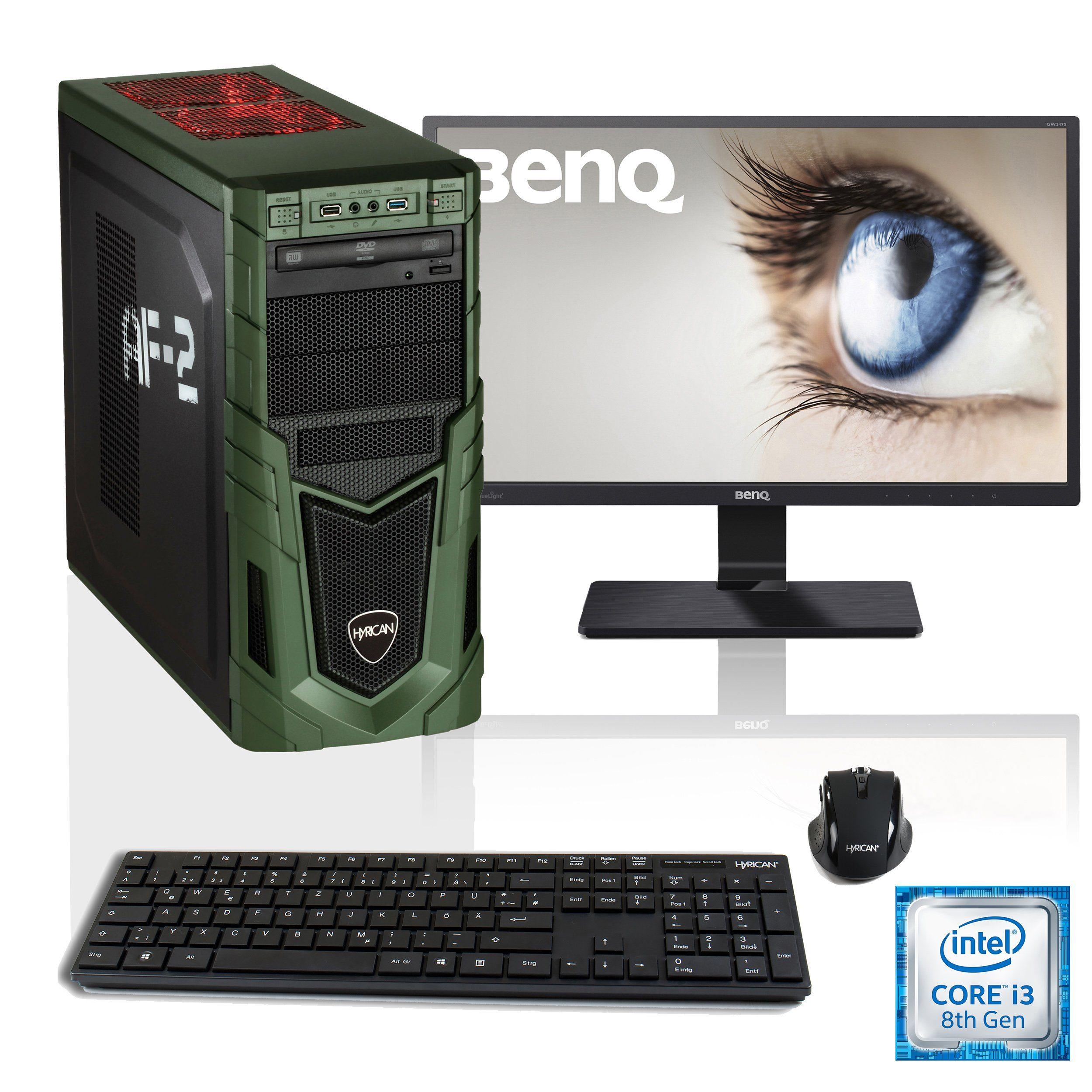 """HYRICAN i3-8100 16GB SSD HDD GeForce® GTX 1050 Ti + 24"""" Monitor »Military SET1594«"""