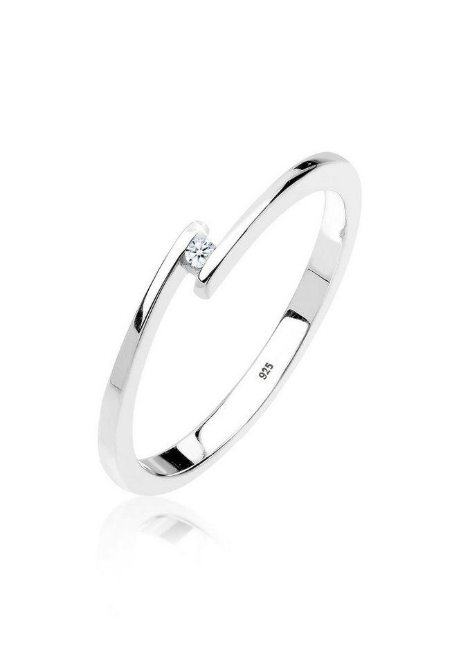 Diamore Ring »Verlobungsring Eleganz Diamant 0.02 ct. 925 Silber ...