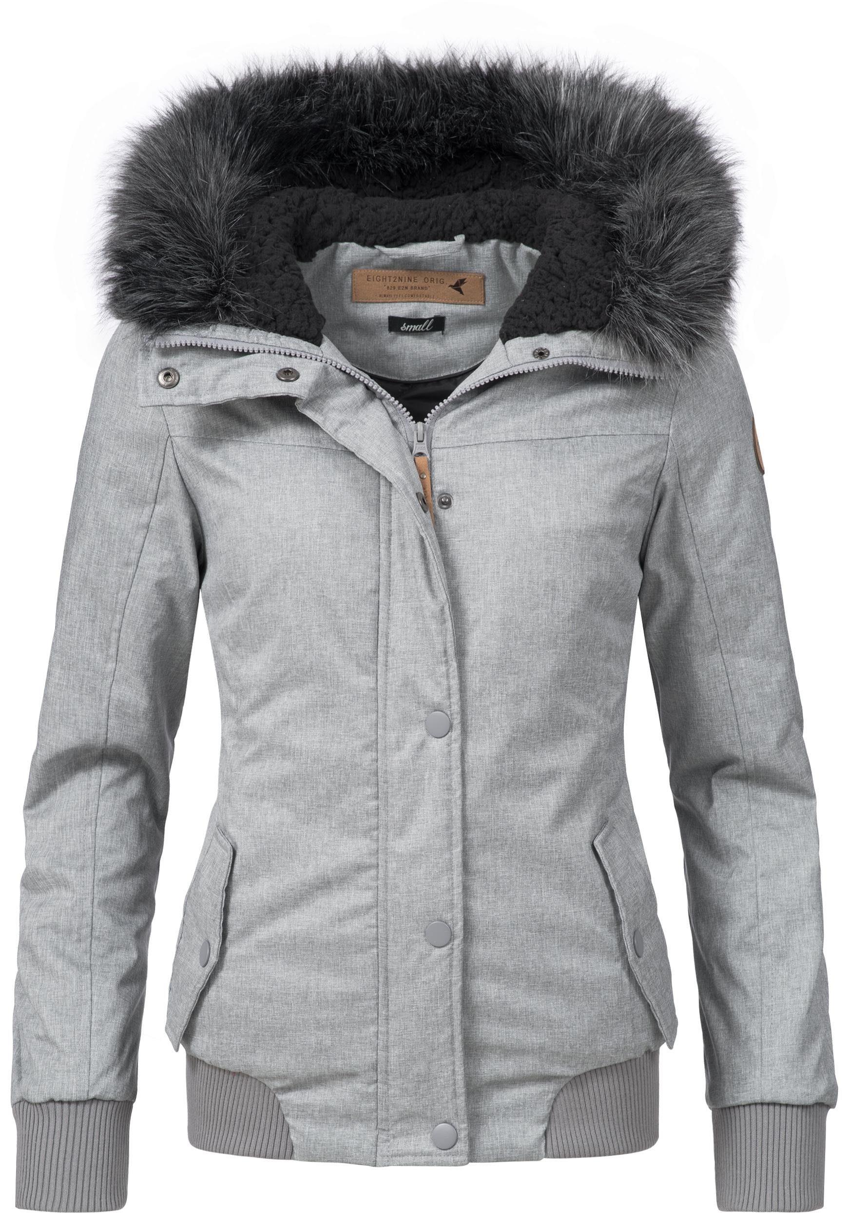 Eight2Nine Winterjacke »44278AEN« stylische Damen Outdoorjacke mit Kapuze und Kunstfell online kaufen | OTTO