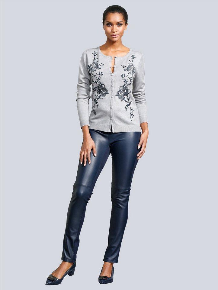 Alba Moda Strickjacke mit eleganter Stickerei