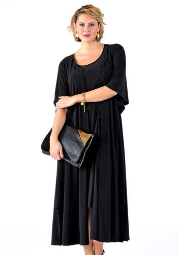 Damen Yoek Strickjacke DOLCE mit längerem Schnitt schwarz | 08718855177526