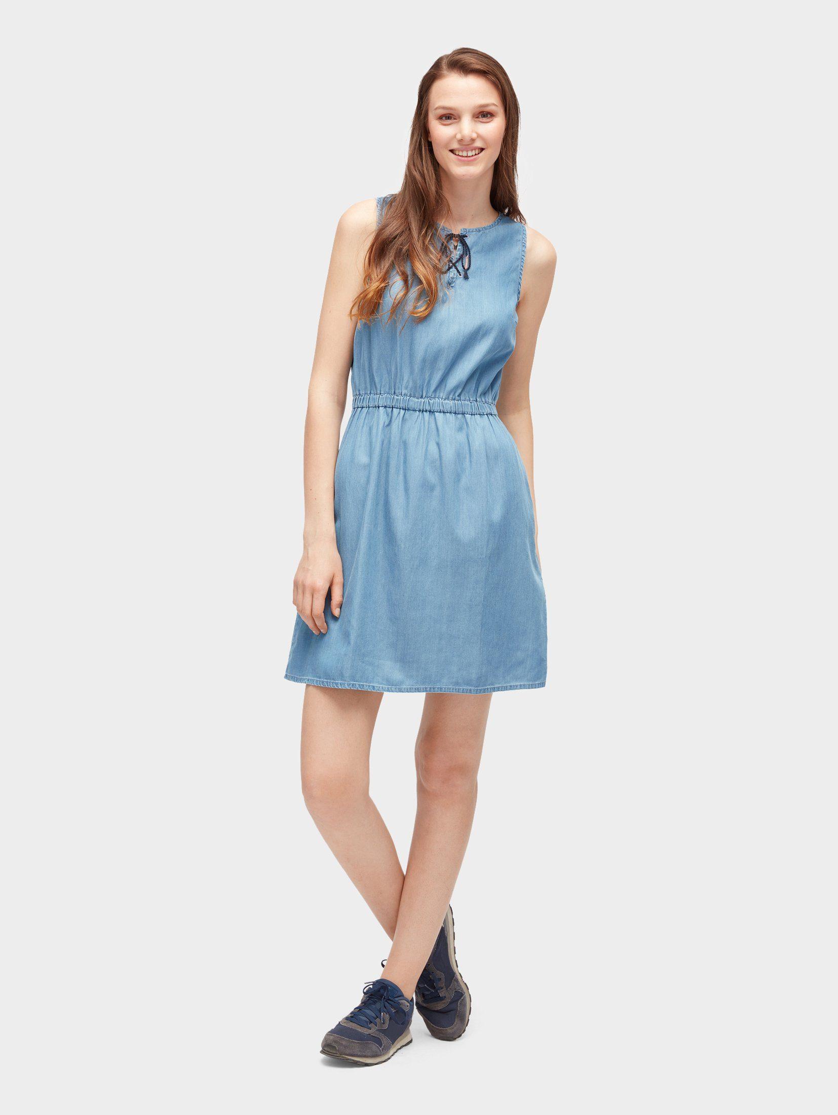 TOM TAILOR Denim Jeanskleid »Kleid mit Schnürung am Ausschnitt«