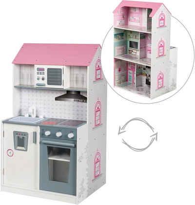 roba® Spielküche »2-in-1, rosa« Holz, mit mehrstöckigem Puppenhaus