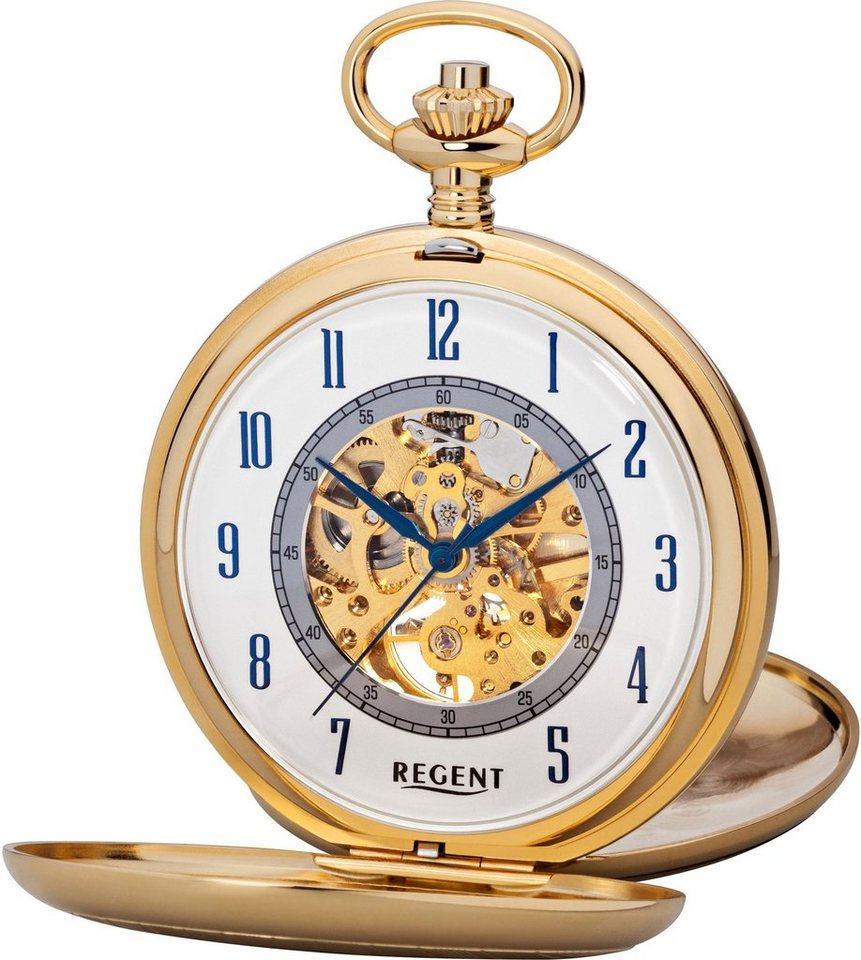 Regent Taschenuhr »11330083« (Set, 2 tlg., inkl. Kette) | Uhren > Taschenuhren | Goldfarben | Regent