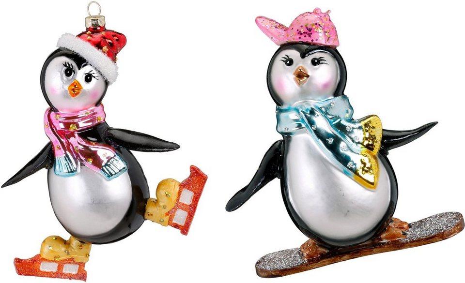 Inge Glas Christbaumschmuck Pinguin Set Pinguin Auf Snowboard