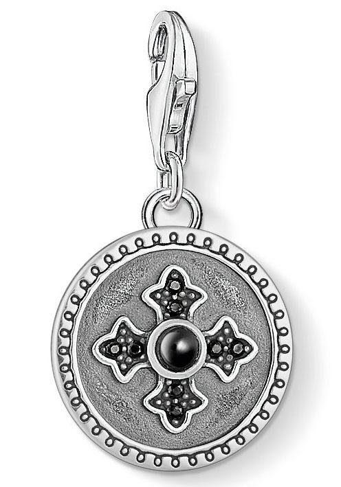 THOMAS SABO Charm-Einhänger »Coin Royalty Kreuz, 1704-641-11« mit Zirkonia und Onyx
