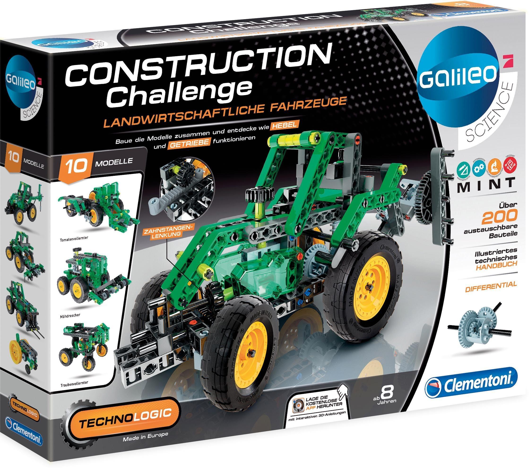 Clementoni Experimentierkasten, »Galileo Technologic Construction Challenge, Landwirtsch. Fahrzeuge«