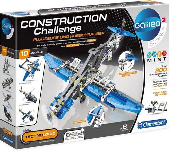 Clementoni® Experimentierkasten »Galileo Technologic Construction Challenge, Flugzeuge Hubschrauber«, (200-tlg)