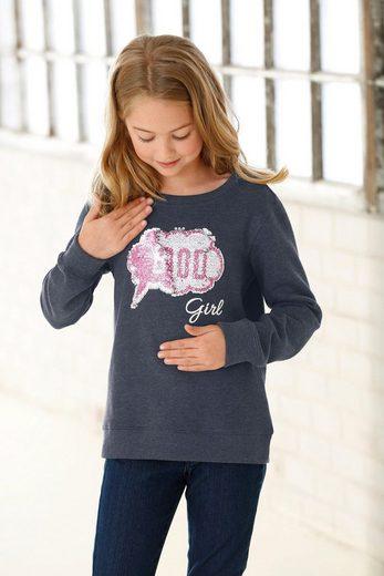 Arizona Sweatshirt »GOOD - BAD« mit Wendepailletten