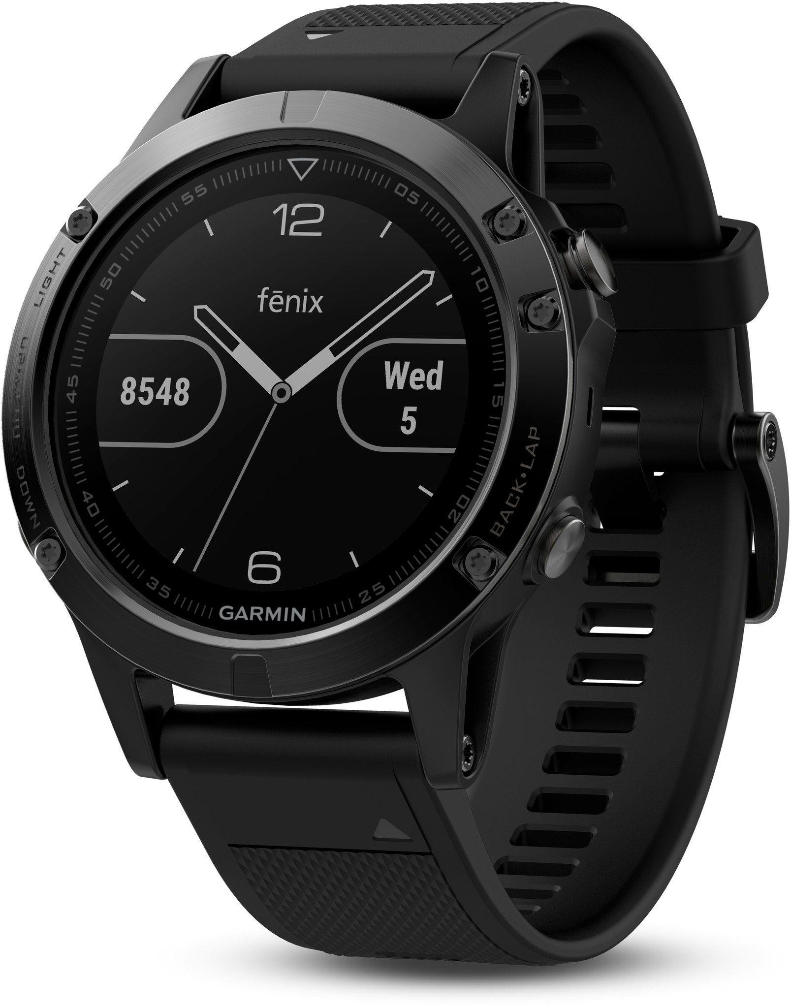Garmin Sportuhr »fenix 5 GPS Multisportuhr mit schwarzem Armband«