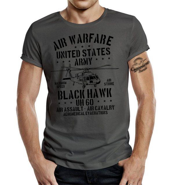 gasoline bandit® -  Shirt mit Rundhals und großflächigem Frontdruck »USAF«