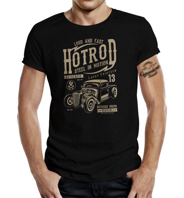 gasoline bandit® -  T-Shirt mit detailliertem Frontdruck und Rundhals