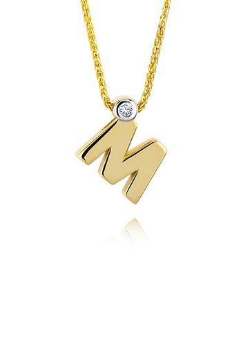 Diamond Line Goldkette mit Buchstabem M und Diamantbesatz