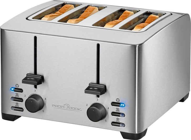 ProfiCook Toaster PC-TA 1073, 4 kurze Schlitze, für 4 Scheiben, 1500 W