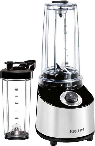 Krups Standmixer KB181D Freshboost, 800 W, To Go mit Vakuum Technologie, 4 Programme; 2 Trinkflaschen, Edelstahl/ Schwarz