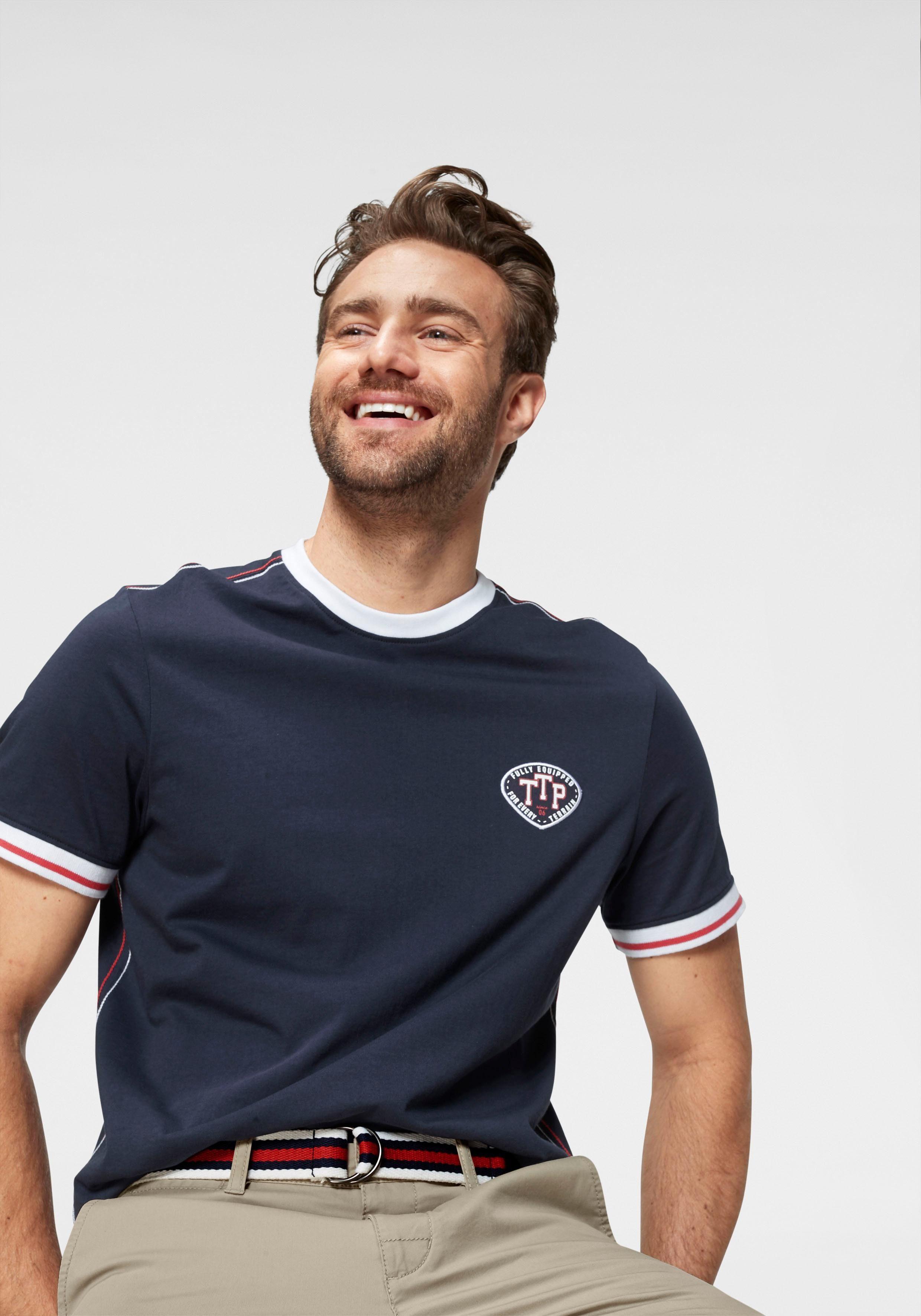 TOM TAILOR Polo Team Rundhalsshirt mit kontrastfarbigen Saum am Ausschnitt und Ärmel