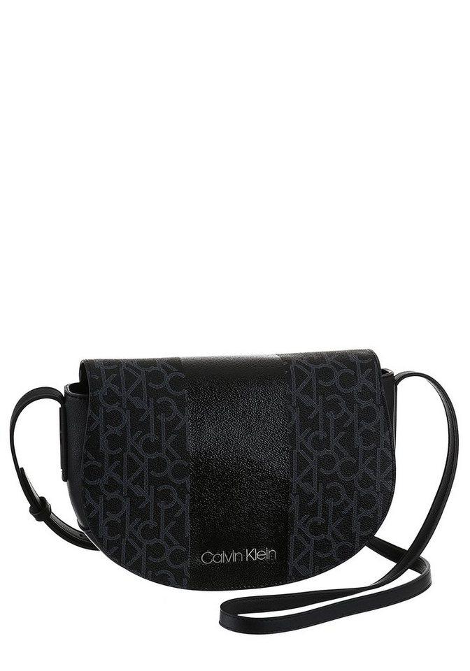 Damen Calvin Klein Umhängetasche MONO BLOCK  mit schönem Allover Logo Druck schwarz   08719115062422