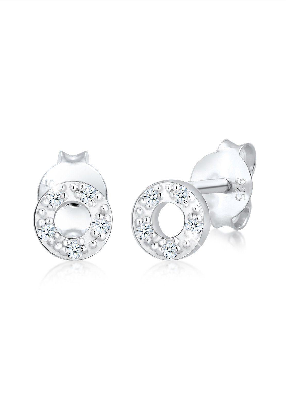 Elli Paar Ohrstecker »Kreis Geo Basic Diamant (0.10 ct) 925 Silber«