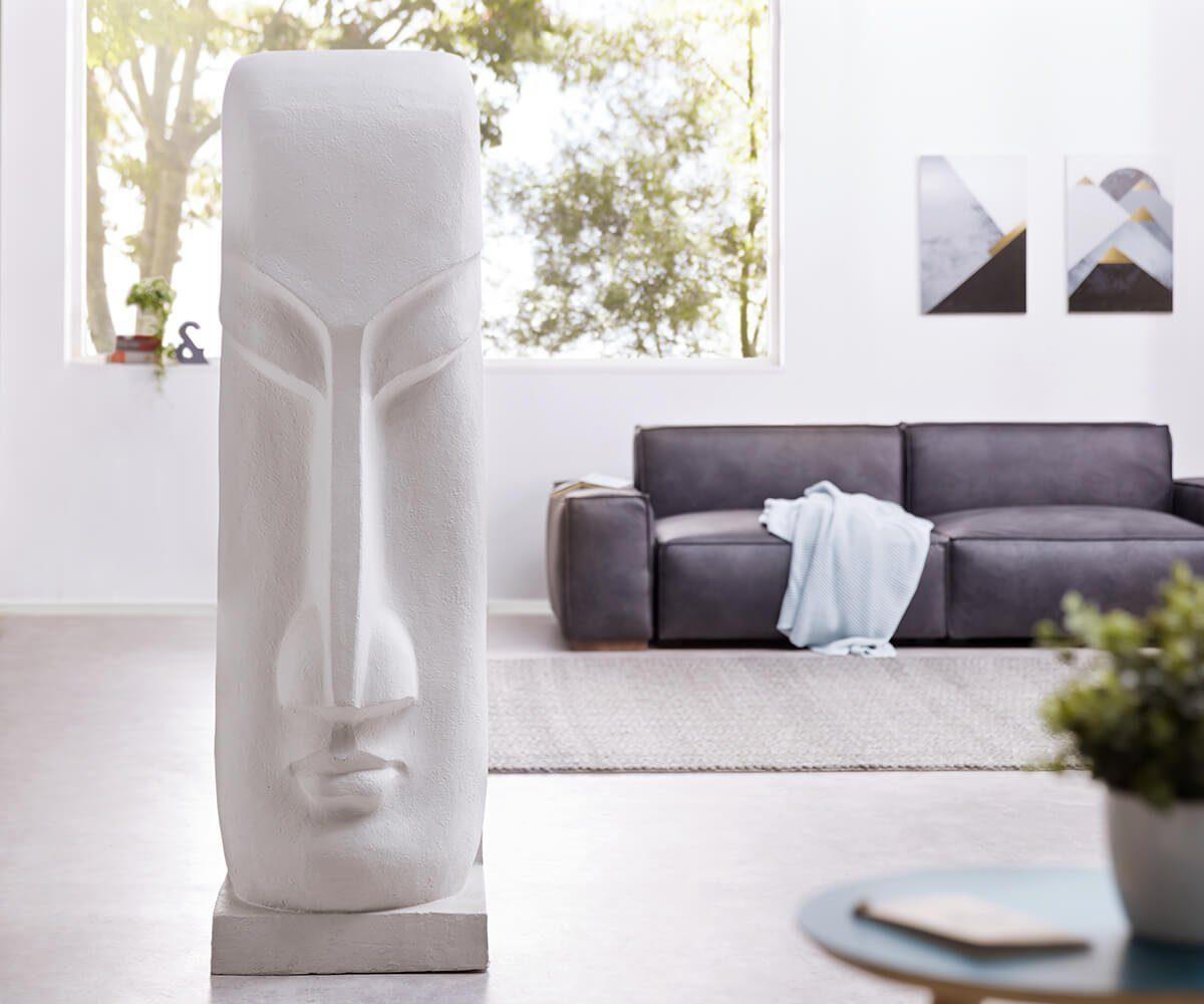 DELIFE Figur Moai Hellgrau 167x50 cm aus Kunststein