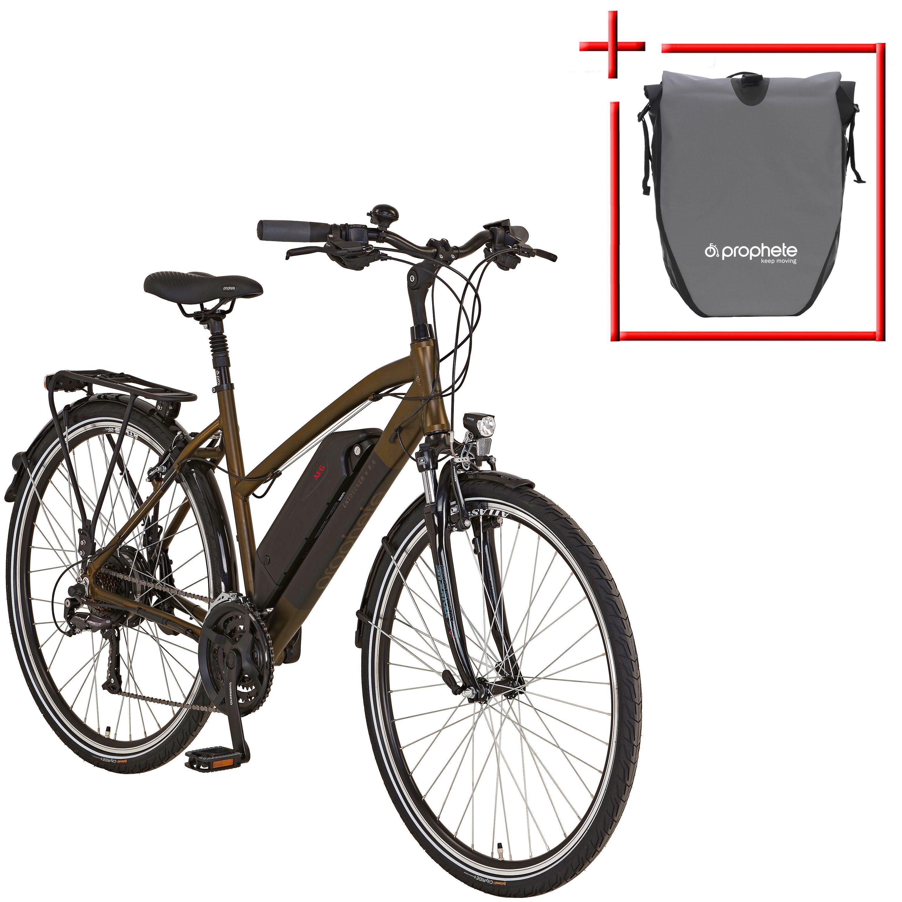 PROPHETE E-Bike Trekking Damen »Entdecker e860«, 28 Zoll, 24 Gang, Heckmotor, 374 Wh