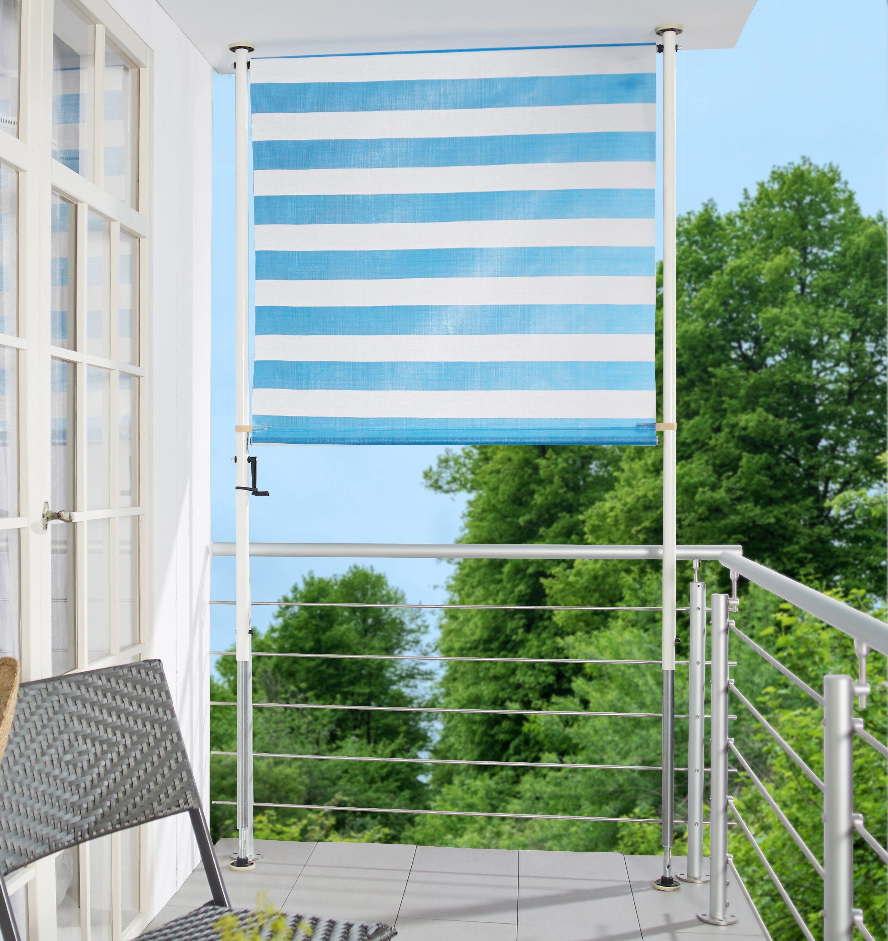 ANGERER FREIZEITMÖBEL Balkonsichtschutz »Blockstreifen«, blau/weiß, in 2 Breiten
